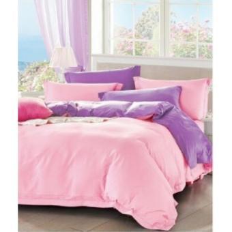 jaxine bedcover set satin/katun jepang baby pink-lilac