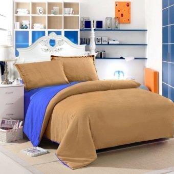 Jaxine Bedcover Katun Prada Polos Biru Cokelat