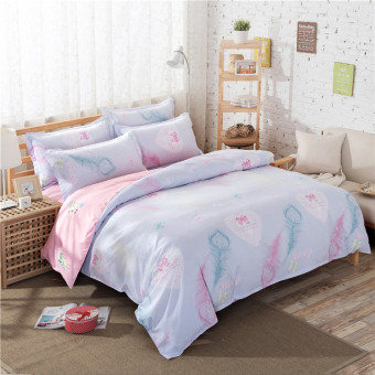 Pink cotton+polyester bedding set duvet cover+flat/fitted sheet+pillowcases sets Feather style printing