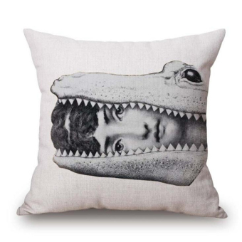 Retro Art Beauty Face Skull Cushion Black And White Cotton Linen Pillow Home Furnishing Decorative Hot Gift(Multicolor10) - intl