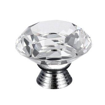 40mm Diamond Shape Crystal Glass Cabinet Cupboard Door Knob Handle Transparent