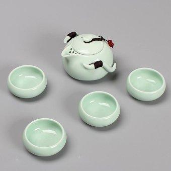 RuYiYu - OutdoorsChina Ceramic Chinese Porcelain Kung Fu Tea Set, Ding Klin Ceramic Tea Pot Cover bowl,Vehicle-mounted Travel Tea Set, Portable Outdoor Travel Tea Tet 5-pack - intl