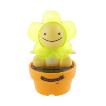BolehDeals Solar Powered Dancing Flip Flap Car Home Desk Dancer Bobble Toy Green Flower - intl
