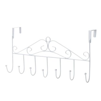 Door Bathroom 7 Hooks for Hanging Coat Clothes Hat Bag Towel(White) - intl