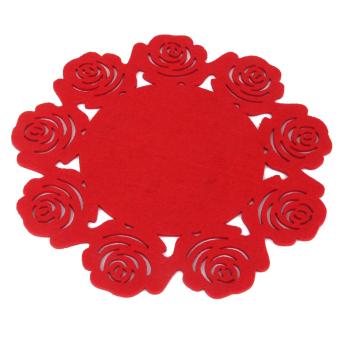 4pcs 25cmx25cm Roses Hollow Out Cup Coaster Mat Anti-Skid Pad Table Placemat
