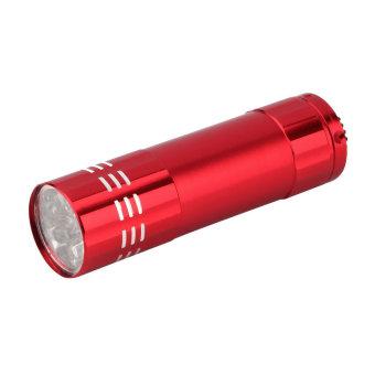 Universal Lampu Center Mini - 9 LED Mini Pocket Torch Flashlight Dengan Baterai AAA - Merah