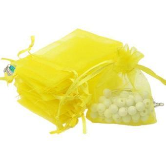 BolehDeals 100pcs Organza Gift Jewellery Bags Pouches Wedding Favours Yellow - intl