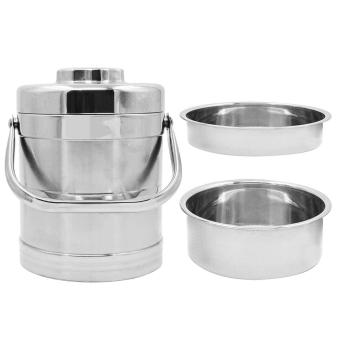 3-layer Vacuum Stainless Steel Lunch Box Handle Meal Carrier Container for Separate Steamed Rice Cuisine Food Jar Exquisite Gifts - intl