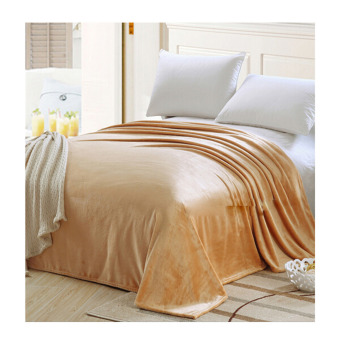 Plush Soft Queen Soild Color Micro fleece Bed Throw Blanket 180cm Camel