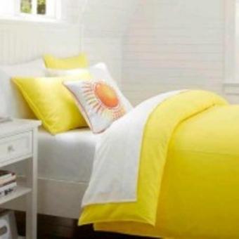 jaxine bedcover set satin/katun jepang tinggi 40 white yellow