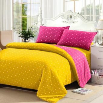Alona Ellenov Polkadot Yellow Pink Bed Cover Set Katun – Kuning