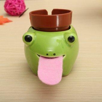 Ceramic Cultivation Peropon Drinking Animal Tougue Self Watering Planter Decor Frog – Basil - intl