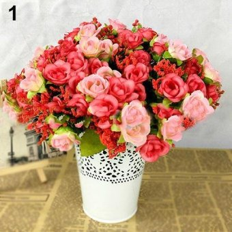 Harga Sanwood Fake Rose Flowers Artificial Floral Plant Wedding Party Decor 21 Heads on 1 Bouquet