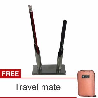 Lanjar jaya Stainless steel Souvenir Pen holder/ Tempat pulpen minimalis isi 2 + Travel Mate