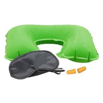 Inflatable Neck Rest Cushion U Pillow + Eye Mask + Ear Plug