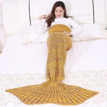 Children Yarn Knitted Mermaid Tail Blanket Handmade Crochet Mermaid Blankets Throw Bed Sofa Wrap Lovely Sleeping Bag 90X50CM - intl