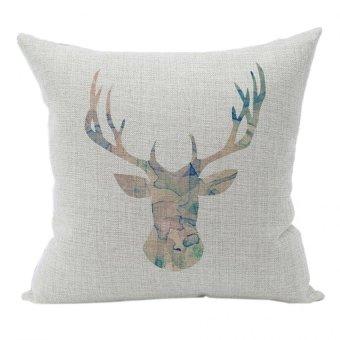 Nunubee Sofa Cotton Linen Home Square Pillow Decorative Throw Pillow Case Cushion Cover Antlers White 1