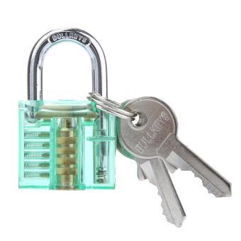 sqamin Visible Cutaway Padlock Training Skill Lock (Green)