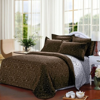 Alona Ellenov Ukir Putih Coklat Bed Cover Set – White