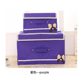 High Grade 2 Size Oxford Cloth Drawer Organizer With Butterfly Knot Clothes Storage Box Purple - intl