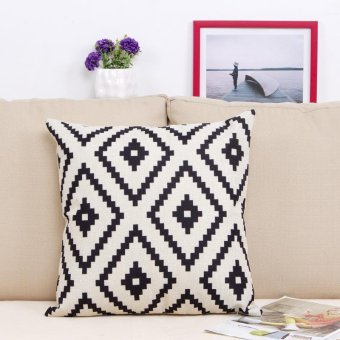 Home Cotton Embroidery Geometric Links Accent Decorative Throw Pillow Cover Sofa Cushion Case #5 - intl