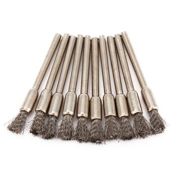 Pen Shape Stainless Steel Wire Brush Set of 10 Silver - intl