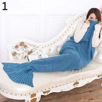 Sanwood Knitted Mermaid Tail Blanket Soft Crochet Warm Sleeping Bag 180cm by 90cm (Blue) - intl