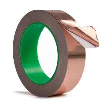 1 Roll 0.79inch x 22 Yard Adhesive Copper Foil Tape EMI Shielding Conductive Heat Insulation for Electronics Repairing - intl
