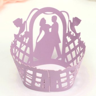 12Pcs Filigree Laser Cup Cake Wrappers Collars Shower Party Wedding Favor Decor - Intl