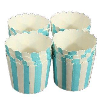 XIYOYO 50 X Cupcake Wrapper Paper Cake Case Baking Cups Liner Muffin Dessert Baking Cup,Blue Striped - intl