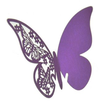 S & F Table Mark Wine Glass Butterfly Cards Set of 50 (Purple)