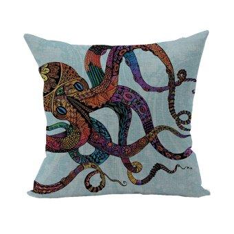 Nunubee Animal Cotton Pillowcase Linen Soft Home Square Bed Decorative Pillow Cover Multicolor Octopus