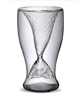 moob Mermaid Shape Glass Creative Glass Wine Beer Cup for Bar Party,100ML (Transparent)