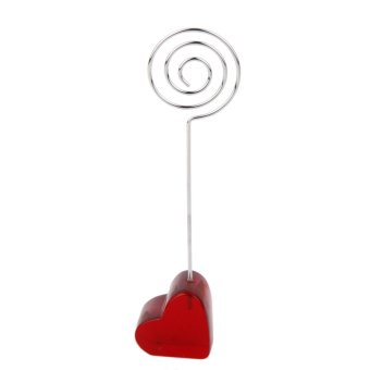 V Heart base card picture memo photo clips holder circle shape wire clip
