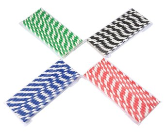 ooplm Drinking Paper Straws,Party Colorful Disposable Striped Drinking Straws Environmental Paper Straws,Pack Of 100 - intl