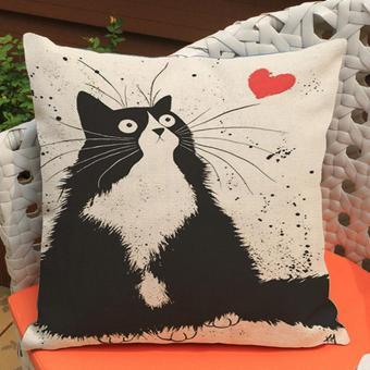 Harga 45 x 45cm Fashion Cute Cat Pattern Printed Style Pillowcase Polyester Linen Hidden Zipper Square
