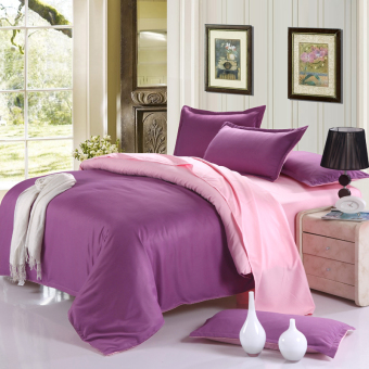 Pink and Purple lattice style printing 3pcs/4pcs cotton bedding set duvet cover+flat/fitted sheet+pillowcases sets