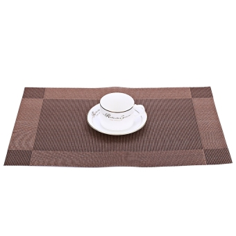 HL 4 PCS Heat Insulation Anti-Skid Stain-Resistant Simple Style Diningroom Pvc Placemat (Coffee) - intl