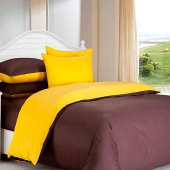 Alona Ellenov Katun Jepang Yellow Coklat Bed Cover Set Katun Jepang Super 200 x 200 x 30