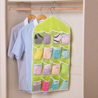 Harga 16 Pockets Clear Over Door Hanging Bag Shoe Rack Hanger Storage Organizer Nice Green -