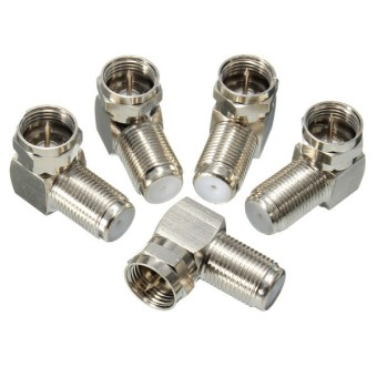 Freebang New 5PCs 90 Degree F Male To F Female Connector Adapter Coaxial Cable RG6 RG59