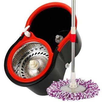 Ocean New Mops Thickening Bucket Rotate Stainless steel Dual drive Hand pressure style(Black) - intl