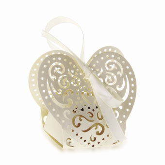12PCS Paper Candy Gift Bag Pouch Wedding Party Favour Cream Hollow Pattern