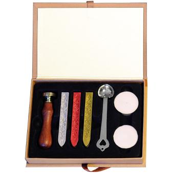 Portable Euclidean Retro Style Candle Set Sealing Wax Stick Wax Seals Kit for Hobby Craft Projects Wedding Party Invitations Letters Envelopes Gift Wrap Bottle Stamps Cards Thank-you Pattern - intl