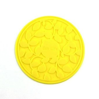 6pcs 8.5cm Silicone Insulation Coaster Pad Creative Coffee Cup Carved Silicone Non-slip Mat - intl