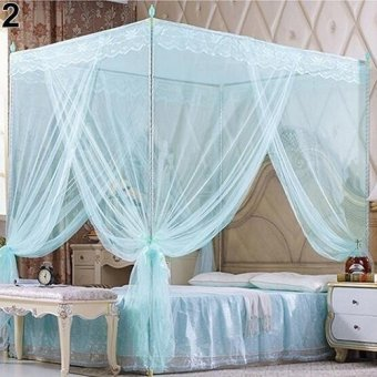 Sanwood Romantic Princess Lace Canopy Mosquito Net No Frame for Twin Full Queen King Bed King (Blue) - intl