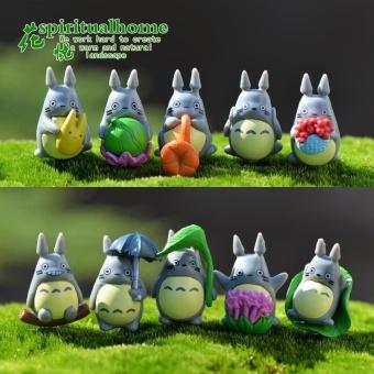 10pcs/set anime kawaii Cute Totoro Flower Lotus leaf action figures plants microlandscape Kids Toy Home Garden Decoration - intl