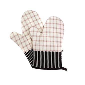Harga 2 Pcs Microwave Oven Gloves Mitt Heat Insulation Pad color:Beige - intl