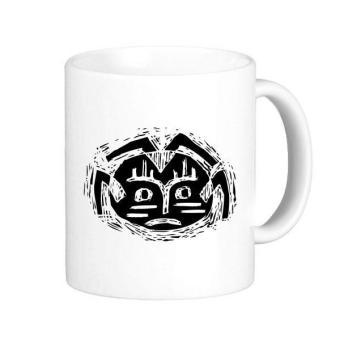 Scary Circle Black Indian Flamen Priest Sacrifice Totem Tattoo Illustration Pattern Classic Mug White Pottery Ceramic Cup Milk Coffee With Handles 350 ml - intl