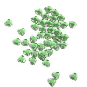 BolehDeals 500pcs 8mm Heart Rhinestone Flatback Embellishment Wedding Decor Green